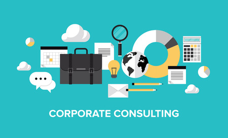 financial audit: Flat design style modern vector illustration concept of corporate consulting  Isolate on stylish color background  Illustration