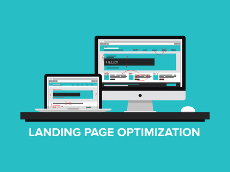 seo concept: Flat design style modern vector illustration concept of landing page optimization process, optimize website for traffic growth and rank result, analyzing and improving homepage for success SEO  Isolated on color background