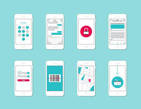 Plat ontwerp vector illustratie begrip set van moderne mobiele telefoon met applicatie gebruikersinterface-elementen, vormen, pictogrammen, knoppen op veiligheid en login-gegevens, internet winkelen, web-communicatie en e-commerce service die op stijlvolle kleur ba