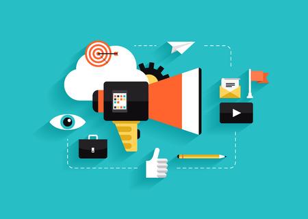 tiếp thị: Phong cách thiết kế căn hộ hiện đại vector khái niệm minh họa với các biểu tượng của các phương tiện truyền thông tiếp thị xã hội, tiếp thị kỹ thuật số, quá trình quảng cáo trực tuyến, chiến lược kinh doanh internet sáng tạo và phát triển xúc tiến thị trường cách ly trên nền màu thời trang Hình minh hoạ