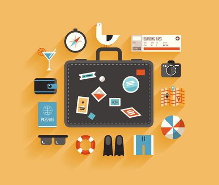 reizen: Plat ontwerp stijl moderne vector illustratie iconen set van het plannen van een zomervakantie, reizen op vakantie reis, toerisme en reizen objecten en bagage van passagiers die op een stijlvolle achtergrond kleur Stock Illustratie