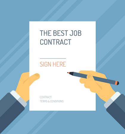 비즈니스 사람이 세련된 색상 배경에 고립 경력에 가장 적합한 조건으로 고용 계약 양식에 서명 플랫 디자인의 모던 한 벡터 일러스트 레이 션의