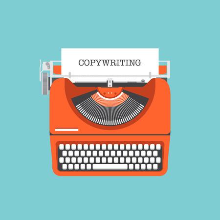 Flache Design-Stil moderne Vektor-Illustration Konzept des Copywriting Marketing-Informationen Isoliert auf stilvolle Farbhintergrund