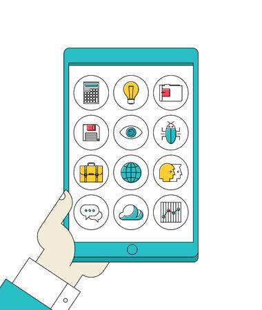 tablet pc in hand: Flat design style vector illustration concept of hand holding modern digital tablet pc with thin line apps icons set on a screen of lifestyle, social media and working applications  Isolated on white background