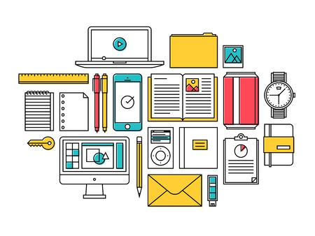 mindennapi: Lapos kivitel vékony vonal ikonok meg modern stílusú vektoros illusztráció divatos hétköznapi tárgyak, irodai és üzleti elemek a mindennapi használat, workflow tervező felszerelés és asztali elemek elszigetelt fehér háttér