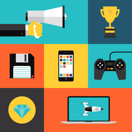 Flat design style modern vector illustration concept with icons set of game playing awards, gaming development apps for mobile device, play games on video console with game controller  Isolated on stylish color background  Vector