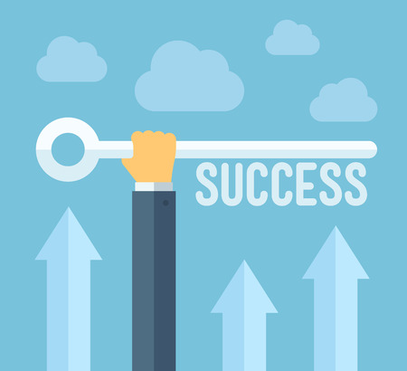 achievement concept: Flat design style modern vector illustration concept of hand holding a key of success, meaning overcoming difficulties, goals achievement, opportunities for business development  Isolated on stylish color background