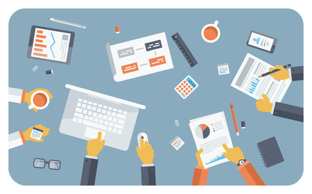 small group: Flat design style modern vector illustration concept of teamwork consulting on briefing, small business project presentation, group of people planning and brainstorming ideas of company financial strategy