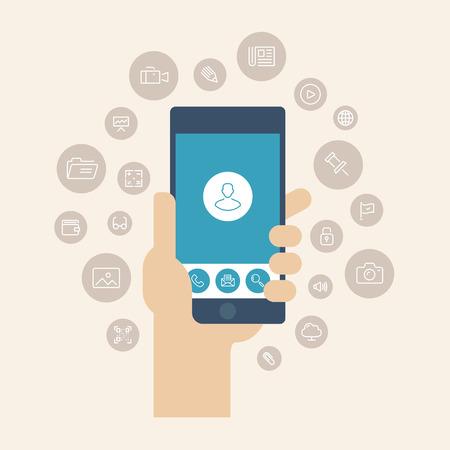 マルチ メディア ・ アプリケーション ・ アイコンと携帯電話の画面から分離されたスタイリッシュな色の背景上にモバイル ユーザー インターフェ