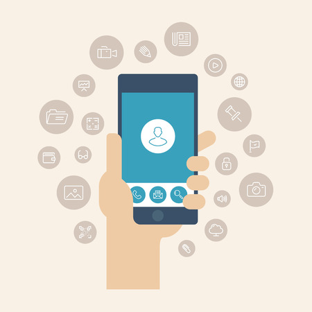 Modern flat design style vector illustration concept of hand holding smartphone with multimedia apps icons and mobile user interface on the phone screen  Isolated on stylish color background  Vector