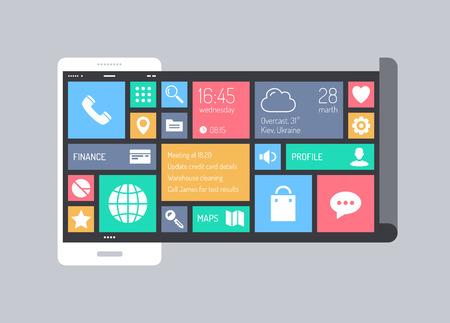 Plat ontwerp stijl moderne vector illustratie concept minimalistische stijlvolle infographic mobiele telefoon met abstracte vierkante metro user interface met kleurrijke dunne lijn iconen van zakelijke communicatie en web apps collectie geà ¯ soleerd op een achtergrond kleur