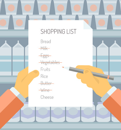 grocery shelves: Flat design style modern vector illustration concept of person holding shopping  list of items needed to be purchased in a supermarket with abstract product shelves on the background  Illustration