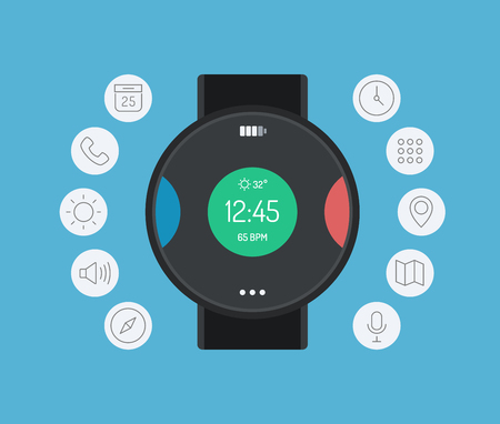 Flat design style modern vector illustration concept with icons of smart watch gadget, personal digital device with mobile apps like phone calls, social media, sms texting, music media player, calendar and time management  Isolated on color background  Vector