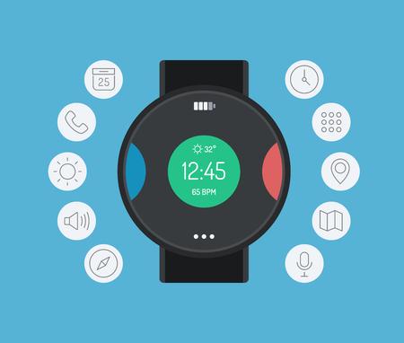 kalendarz: Płaska konstrukcja nowoczesny styl ilustracji wektorowych z ikon koncepcja inteligentnego zegarka gadżet, osobistych urządzeń cyfrowych z aplikacji mobilnych, takich jak telefony, social media, sms pisanie wiadomości, muzyka Media Player, kalendarza i zarządzania czasem samodzielnie na kolor tła