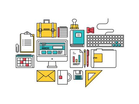 articulos oficina: Piso de dise�o de iconos de l�nea delgada ilustraci�n vectorial de estilo moderno de los objetos de desarrollo de negocios de moda, art�culos de oficina suministros de equipos, flujo de trabajo y la planificaci�n, elementos de escritorio aislados en el fondo blanco