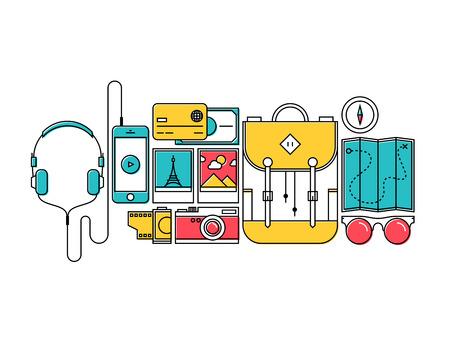 Diseño plano de estilo de línea fina de vectores moderna ilustración iconos conjunto de objetos exteriores viaje a la ciudad, el turismo y el equipo de viaje de vacaciones, artículos de excursionista para viajar aislado sobre fondo blanco
