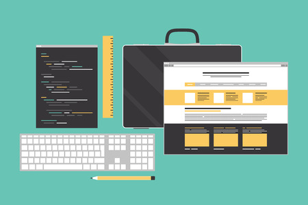 php: Flat design style modern vector illustration icons set of web page programming, website user interface elements and programming workflow objects  Isolated on stylish color background