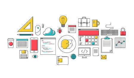 kódování: Plochý design ve stylu moderní vektorové ilustrace tenká linie ikony set of web design, kancelářské vybavení, kódování a programování prvky, pracující obchodní nástroje pro internetové workflow a správu izolovaných na bílém pozadí