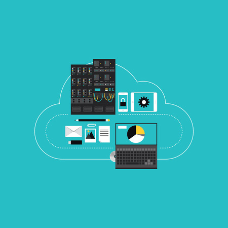 Flat design style modern vector illustration concept of cloud computing communication technology, web hosting for business networking development, server connection and data access for mobile and computer devices. Isolated on stylish turquoise background.