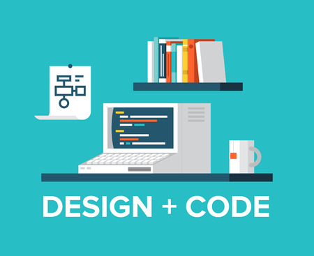 coding: Flat design style modern vector illustration concept of office workplace with retro computer, programming code on a screen, web design, user interface development, website coding  Isolated on stylish color background