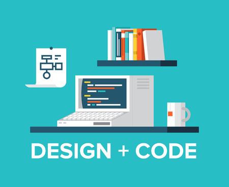 kódování: Plochý design styl moderní vektorové ilustrace pojetí kancelářského pracoviště s retro počítače, programovací kód na obrazovce, web design, vývoj uživatelského rozhraní, kódování izolovaných na stylovém barevném pozadí