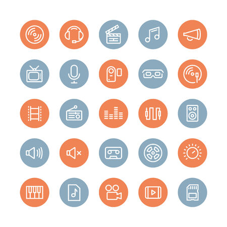 multimedia icons: Flat line icons modern design style illustration vector set of multimedia symbols, sound and music instruments, audio and video items and objects  Isolated on white background    Illustration