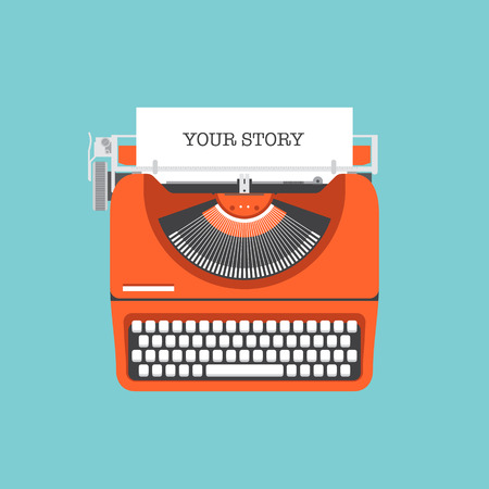 typewriter: Estilo de diseño Flat vector moderno concepto de ilustración de una máquina de escribir con estilo de la vendimia manual con el texto de su cuota de historia en una lista de papel aislado en elegante fondo de color Vectores