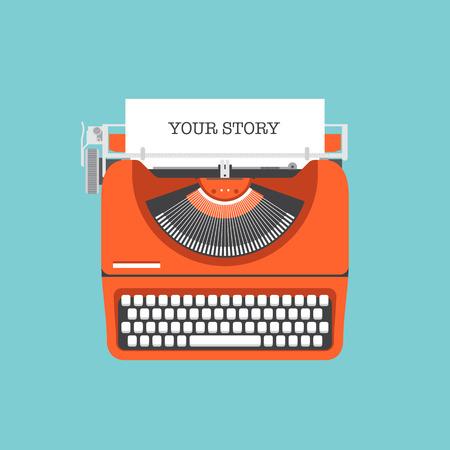 Plat ontwerp stijl moderne vector illustratie concept van een handleiding vintage stijlvolle schrijfmachine met Deel uw verhaal tekst op een papieren lijst Geïsoleerd op stijlvolle achtergrond kleur