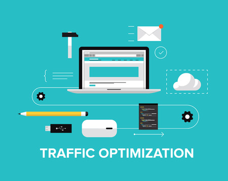 Plat ontwerp moderne vector illustratie begrip van de website verkeer optimalisatie dienst, webpagina codering en conversie groeistrategie, web site te optimaliseren en de inhoud te ontwikkelen Geïsoleerde op stijlvolle achtergrond kleur Vector Illustratie