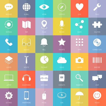 플랫 디자인 얇은 라인 아이콘 비즈니스 개발 요소, 기술, 통신 및 웹 인터페이스 기호, 마케팅 도구 및 컬러 배경에 고립 사무실 장비의 현대적인 스타 일러스트