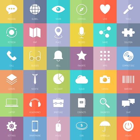Flat design thin line icons set modern style vector concept of business development elements, technology communication and web interface symbol, marketing tools and office equipment  Isolated on colored background  Vector