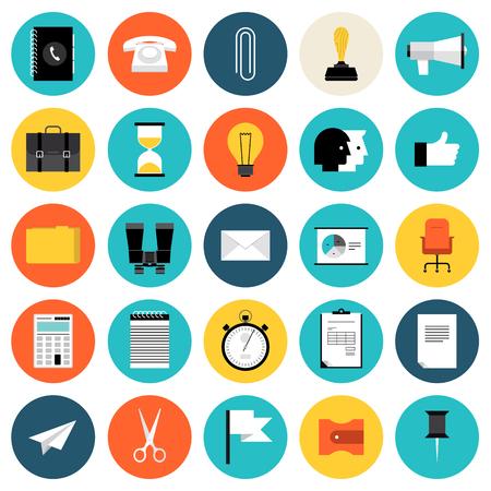 플랫 디자인 아이콘 비즈니스의 현대적인 스타일 벡터 일러스트 레이 션의 개념을 설정하고 작업 개체, 사무실 책상 장비, 관리 요소, 금융 및 마케팅