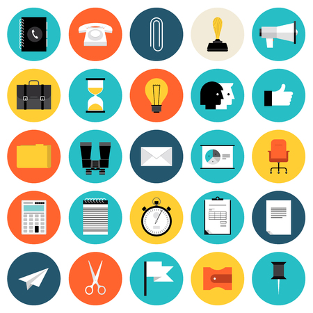 Flat design icons set modern style vector illustration concept of business and working objects, office and desk equipment, management elements, finance and marketing items  Isolated on white background