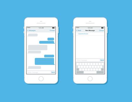 Flache Design-Stil moderne Konzept Vektor-Illustration Satz von Handy-Messaging, SMS-Kommunikation mit leeren Sprechblase, neue E-Mail-Schnittstelle Schablonenform auf Smartphone Isoliert auf stilvolle Farbhintergrund