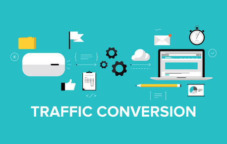 Flat design modern vector illustration concept of the website traffic conversion growth, webpage search engine optimization, web site analyzing and content development  Isolated on stylish color background Illustration