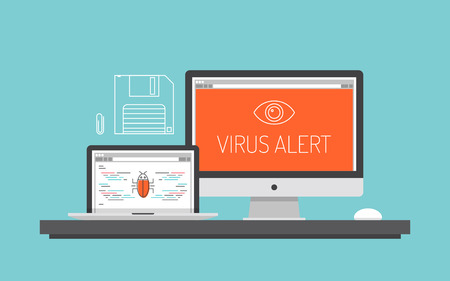 malware: Flat design style modern vector illustration concept of computer and laptop with virus alert message, trojan and worm distribution via internet, software and equipment, antivirus and firewall protection  Isolated on stylish color background Illustration