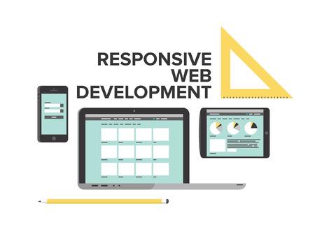 web service: Estilo de dise�o Flat vector moderna ilustraci�n concepto de servicio de desarrollo de p�ginas web sensibles, disposici�n optimizaci�n de sitios web para el ordenador port�til, tel�fono m�vil y la tableta digital aislado sobre fondo blanco