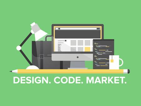 Plat ontwerp stijl moderne vector illustratie concept van web pagina programmeren, website en webpagina codering, user interface-elementen, studio portfolio en creatieve ontwikkeling van de markt die op stijlvolle achtergrond