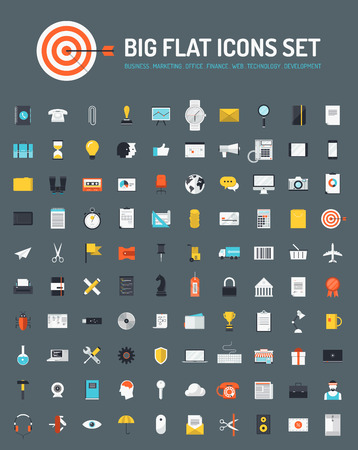 Flat icons big set of business and marketing objects, office and working equipment, communication and technology items, finance and internet commerce pictogram. Modern design style vector symbol collection. Isolated on stylish background.