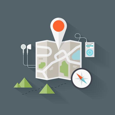 bussola: Concetto di astratto mappa stradale con elementi di navigazione e il simbolo. Appartamento stile di disegno illustrazione vettoriale moderno. Isolato su sfondo elegante.
