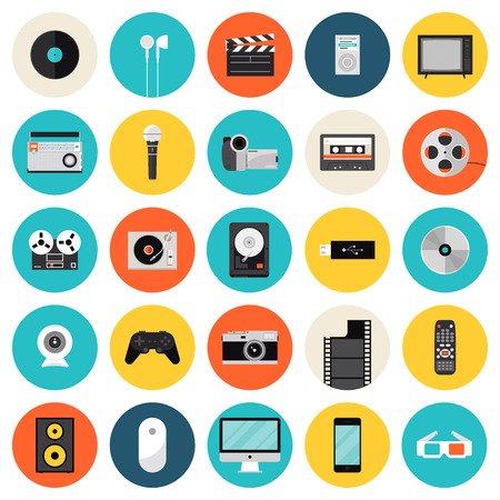 Flat icons set of multimedia and technology devices, sound instruments, audio and video items and objects. Modern design style vector symbol collection. Isolated on white background.   Vector