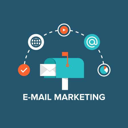 Concept van directe digitale marketing, e-mail reclame communicatie, nieuwsbrief promotiecampagne. Plat ontwerp stijl moderne vector illustratie concept. Geïsoleerd op een stijlvolle achtergrond.