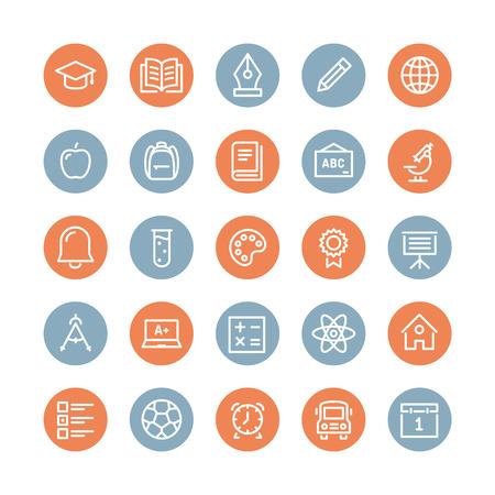 教育と学習の平らな線アイコン設定高校オブジェクトとシンボルと教育機器を教える大学項目の近代的なベクター コレクション。白い背景で隔離さ