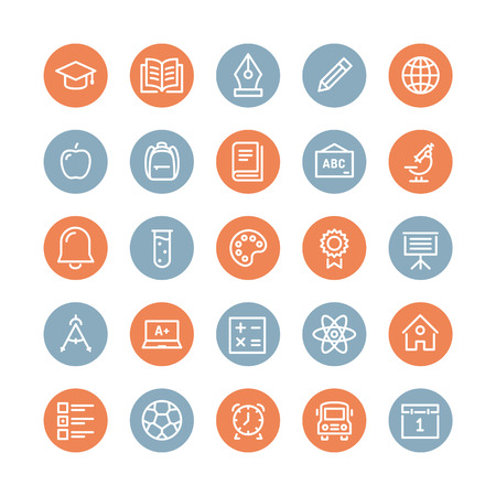 Education and learning flat line icons set, modern vector collection of high school objects and college items, teaching symbols and educational equipment. Isolated on white background. Vector