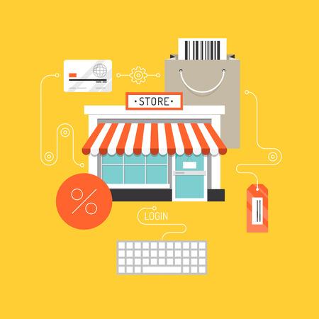stores: Online winkelen en e-commerce concept, webwinkel markt met de aankoop van het product proces via internet. Plat ontwerp stijl moderne vector illustratie. Geïsoleerd op een stijlvolle achtergrond. Stock Illustratie