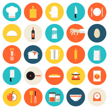 cooking: Kitchen utensils and cookware flat icons set, cooking tools and kitchenware equipment, serve meals and food preparation elements. Modern design style vector illustration symbol collection. Isolated on white background.