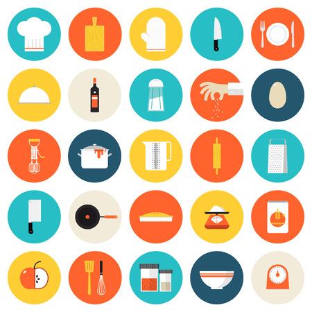 Naczynia kuchenne i naczynia do gotowania płaskie zestaw ikon, narzędzia i urządzenia kuchenne do gotowania, służyć posiłki i elementy przygotowania żywności. Nowoczesny design w stylu ilustracji wektorowych zbiór symboli. Samodzielnie na białym tle.