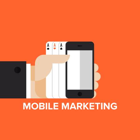 advertisement: Mobile-Marketing-Strategie, SMS und Text-Werbung und mobile Apps in-game Werbung. Flache Design-Stil Vektor-Illustration modernen Konzept. Isoliert auf stilvolle Hintergrund.