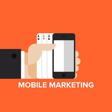 mobile advertising: Mobile marketing strategy, sms and text advertising and mobile apps in-game advertisement. Flat design style modern vector illustration concept. Isolated on stylish background.