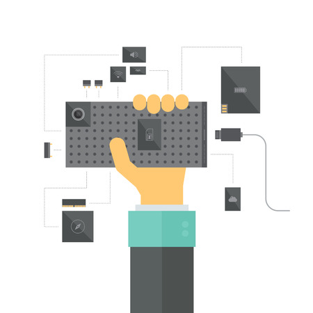 electronic components: Modular smartphone concept with electronic platform and various device modules and components, a new innovation in mobile hardware development process. Flat design style modern vector illustration. Isolated on white background. Illustration